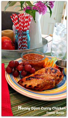 Freezer Recipe: Honey Dijon Curry Chicken - Mom it Forward Chicken Freezer Meals, Freezer Cooking, Chicken Recipes, Slow Cooker Recipes, Cooking Recipes, Freezer Recipes, Cooking Ideas, Food Ideas, Crockpot Dishes