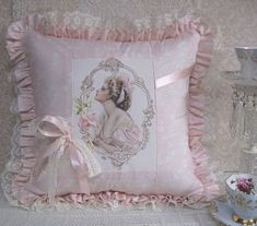 Harrison Fisher in Pink-Harrison Fisher shabby chic Victorian pillow