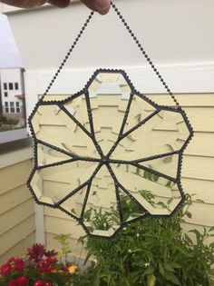 Items similar to Suncatcher - Beveled Glass - Clear - Stained Glass - Victorian - Antiqued Finish - Beaded Metal Work - Window Hanging - Handmade on Etsy Gold Glass, Beveled Glass, Ceiling Fan Pulls, Star Ceiling, Light Pull, Window Hanging, Sun Catcher, Beautiful Artwork, Metal Working