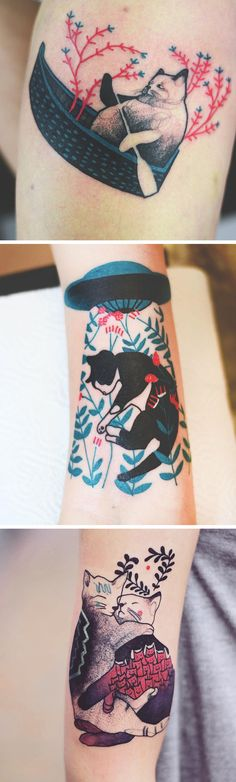 Elegant Feline Tattoos by Joanna Swirska So cute, love the colours!
