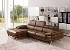 1218 Brown Microfiber Fabric Living Room Sectional Sofa With Adjustable Headrests