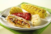 Grilled Chicken-Vegetables Parmesan-This is an easy, delicious and quick recipe that takes less than 30 minutes from start to your plates. Chicken, bell peppers, corn and onions make for a complete meal. It's a healthy Diabetic and a WeightWatchers 8 PointsPlus+ meal also. Makes 4 Servings.