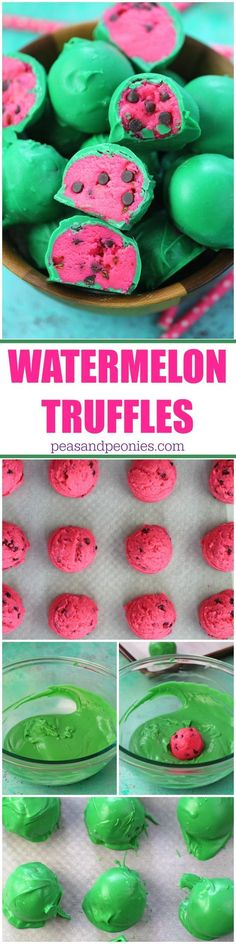 No Bake Watermelon Truffles are a fun, tasty and colorful summer treat. Easy to make, with just a few ingredients, these are perfect to brighten your day. - from peasandpeonies.com