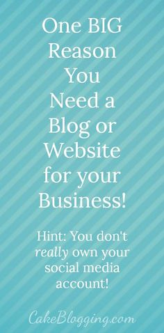 Why You Must Own Your Own Website or Blog. You don't actually own or have ultimate control over your social media accounts - this is why you NEED your own..
