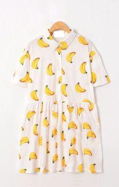 dress banana print shirt dress button up dress short sleeve dress loose waist dress banana print smock dress