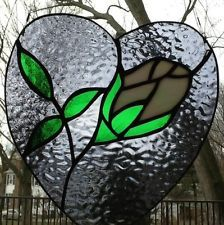 Stained Glass Heart Panel With White Rose.