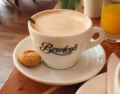 A Bewley's white coffee in Dublin, Ireland. Many, many an hour spent at Bewleys,