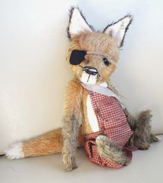 Dexter the fox in grubby dungarees and eyepatch. By Ragtail n Tickle.