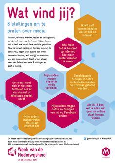 Deze poster hoort bij de Week van de Mediawijsheid 21-28 nov. Je kan de poster als pdf hier downloaden. Social Media Apps, 21st Century Skills, Yoga For Kids, School Hacks, Coaching, High School, Classroom, Internet, Teacher
