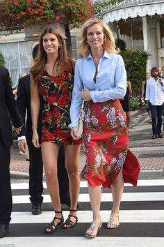 Ladylike chic: Model Eva Herzigova (right) arrived alongside socialite  Bianca Brandolini D'Adda (left) ahead ofBeatrice Borromeo's second wedding to Monaco royal Pierre Casiraghi on Friday