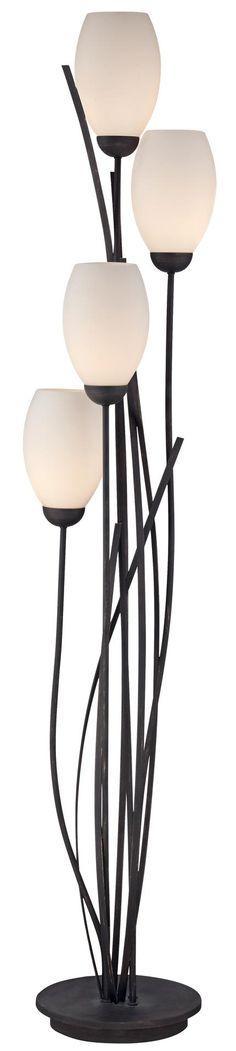 Black Metal and White Glass Tulip 4 Light Floor Lamp -
