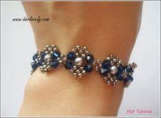 Beaded Bracelet Pattern Swarovski Blue Silver Pearl por darlovely