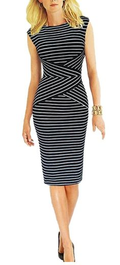 BAIMIL Women Striped Curvy Summer Wear to Work Casual Party Pencil Dress Black S
