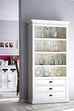 Bücherschrank im Landhaustil, drei Schubladen und drei Einlageböden in weiß - Vitrinen & Geschirrschränke - Landhaus Style - Möbel