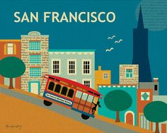 San Francisco, Nob Hill Collage Style 8 x 10 Poster Art Print