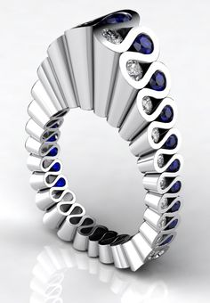 Ring | Erik Stewart.  Platinum, diamonds and sapphires.