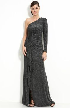 David Meister Metallic Jersey One Shoulder Gown available at #Nordstrom