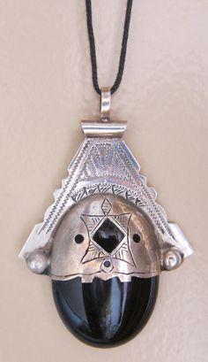 Tuareg Pure Silver Pendant with Onyx by INEKE HEMMINGA