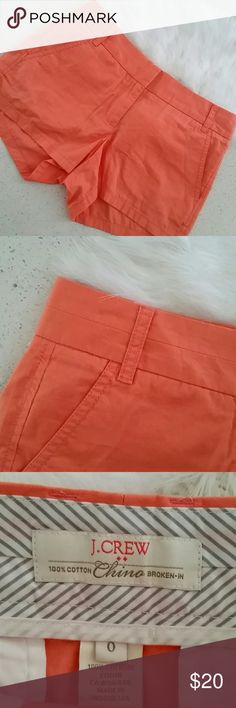 🌺🌻J.CREW FACTORY CHINO🌻🌺 NWOT. Size 0. Salmon color. 100% Cotton.  BROKEN -IN. See pic for inseam measures. J. Crew Factory Shorts