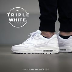 "#nike #airmaxone #airmax1 #triplewhite #sneakerbaas #baasbovenbaas  Nike Air Max One ""Triple White"" - Now available online, priced at € 109,99  For more info about your order please send an e-mail to webshop #sneakerbaas.com!"