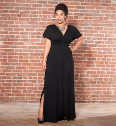 Show 'em a little leg!  Vienna Maxi Dress by Kiyonna in Black Noir #plussize