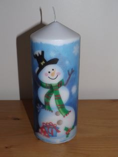 Christmas Candles, Decorative Candles, Pillar Candles, Centerpieces, Santa Candles, Snowman Candles, Handmade, Christmas Gifts, Decoupage by TTsTreasureTrove on Etsy