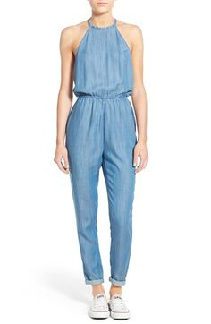 Lightweight denim overall jumpsuit. Club Monaco never forget to include at least one jumpsuit for every warm season. Pastel blue and light denim is perfect!