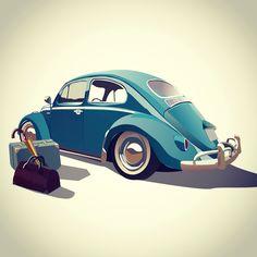 Машина жук ретро чемодан зонтик