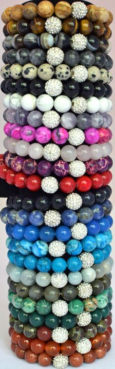 Semi Precious Gemstone Beaded Stretch Bracelet with Silver Pave Rhinestones