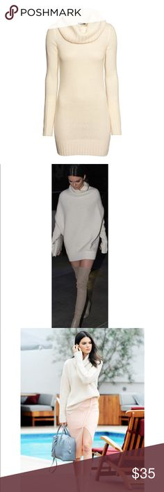 H&M Cream cowl neck oversized sweater H&M off-white / ecru turtleneck knit sweater - oversized fit similar to knits worn by Kendall Jenner. Let me know if you would like additional photos or information :) H&M Sweaters Cowl & Turtlenecks