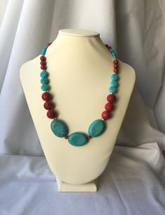 Red Sponge Coral & Turquoise Magnesite Beaded Necklace by StellaLeeJewelry on Etsy. #stellaleejewelry