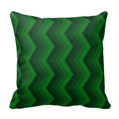 Geometric ZigZag Throw Pillow Shades of Green