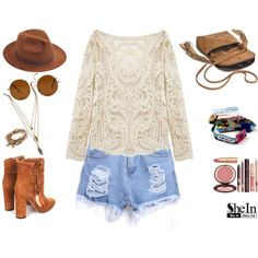 Lace Top, Denim Shorts & Ankle Boots