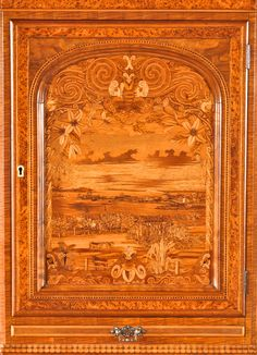 detail of cabinet door, featuring a scene of Auckland viewed from Ponsonby