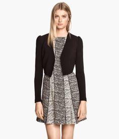 Black Puff Sleeve H&M Bolero Crop Jacket $30