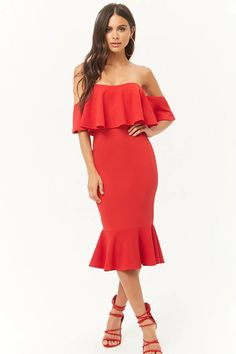 Product Name:Off-the-Shoulder Ruffle Dress, Category:dress, Ruffle Dress, Strapless Dress, Skirt Outfits, Cute Outfits, Forever 21 Fashion, Shop Forever, F21, Forever 21 Dresses, Fashion 2020