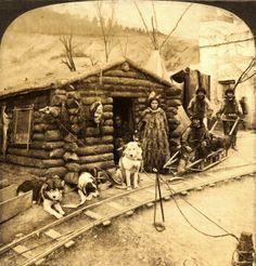 Klondike miners with husky dog team, 1905