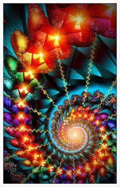 Rainbow Spiral Fractal Art