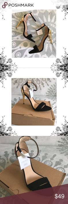 """Zara Gold Metallic and Black Suede Heels Euro Sz 39/US Sz 8. Manufacturer Color is Black/Gold. New with box. Heel Height is 4 1/4"""". Platform Height is 1/4"""". Buckle Closure. Textile/Leather/Man Made. Fabric Type is Faux Suede. Bundle for discounts! Thank you for shopping my closet! Zara Shoes Heels"""