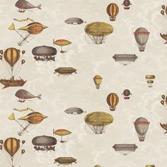 Wonderous flying machines in red and yellow, sitting amongst the creamy clouds. This wall art comes as a set of two rolls. From Fornasetti Collection from Cole and Son. Fornasetti Wallpaper, Piero Fornasetti, Wallpaper Direct, Of Wallpaper, Designer Wallpaper, Machine Volante, Cole And Son Wallpaper