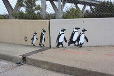 penguins-walking street art