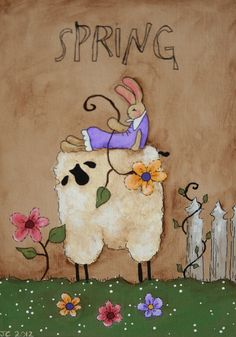 Primitive sheep and Bunny  Spring  Hand Painted by jennysfolkart, $5.99