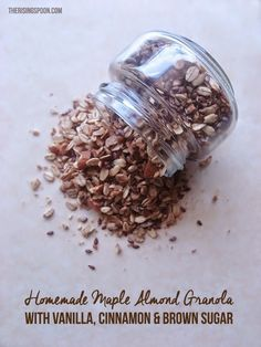 Homemade Maple Almond Granola with Vanilla, Cinnamon & Brown Sugar   therisingspoon.com - Fixing a batch of this takes hardly any work and makes your home smell divine!