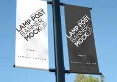 Buy Lamp Post Banner Mockup by samladlow on GraphicRiver. Wanting to show a client how their advert would look when displayed as two lamp post banners, I created a psd with a . Free Mockup Templates, Brochure Template, Street Banners, Mockup Creator, Billboard Mockup, Photoshop, Presentation Design, Business Presentation, Creative Advertising