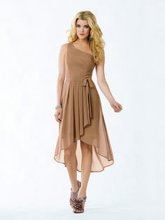 Jordan 753 One-Shoulder Pleated Wrap Hi-Low With Bow - A Line, One Shoulder