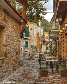 Street of Nafpaktos town, Aitoloakarnania region, Greece Travel Around The World, Around The Worlds, Santorini Villas, Myconos, Greece Pictures, Turkey Travel, Stone Houses, Thessaloniki, Archaeological Site