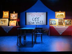 "The set design for ""Articulating the Arts: Off the Wall."""