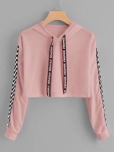 Hooded Sweatshirt Outfit for Women, Print Hooded Sweatshirt – Drawstring Hoodie Plaid Sweatshirt – Sweatshirt Cute Comfy Outfits, Cute Girl Outfits, Pretty Outfits, Stylish Outfits, Girls Fashion Clothes, Teen Fashion Outfits, Mode Outfits, Fashion Women, Atmosphere Fashion