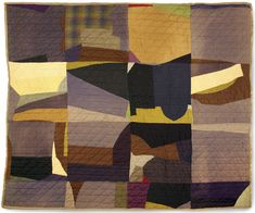 """Crazy quilt, c. 1920–50, United States, cotton batting, pieced cotton and wool top, 62"""" x 72"""", Gregg Museum collection, gift of A. Everette ..."""