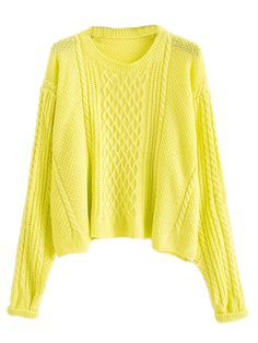 Yellow Loose Cable Jumper | Choies
